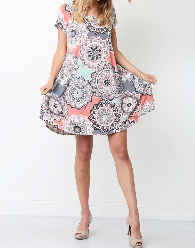 Geo Print Swing Mini Dress