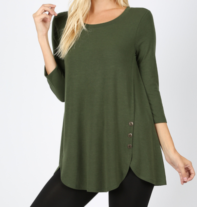 3/4 Sleeve with Side Button Dolphin Hem Top