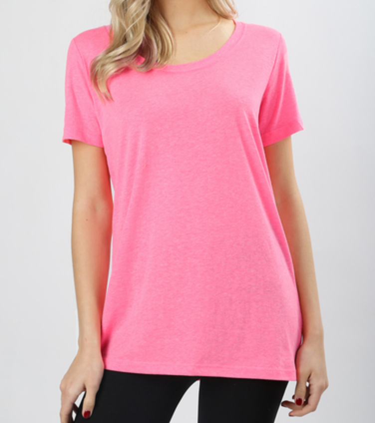 Short Sleeves Round-neckline Heather Boxy Tee
