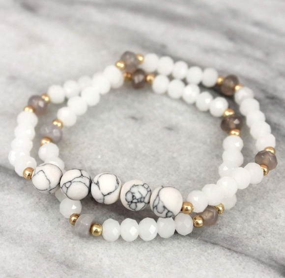 Howlite And White Faceted Bead Wrap Bracelet