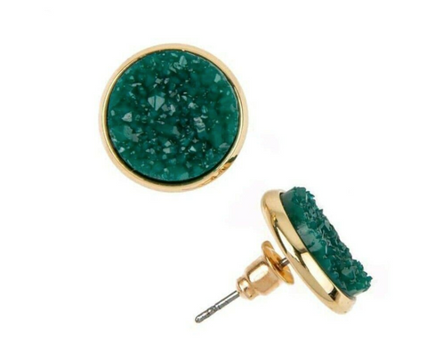 Green Druzy Earrings