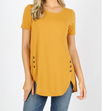 Short Sleeve Button Top Dolphin Hem
