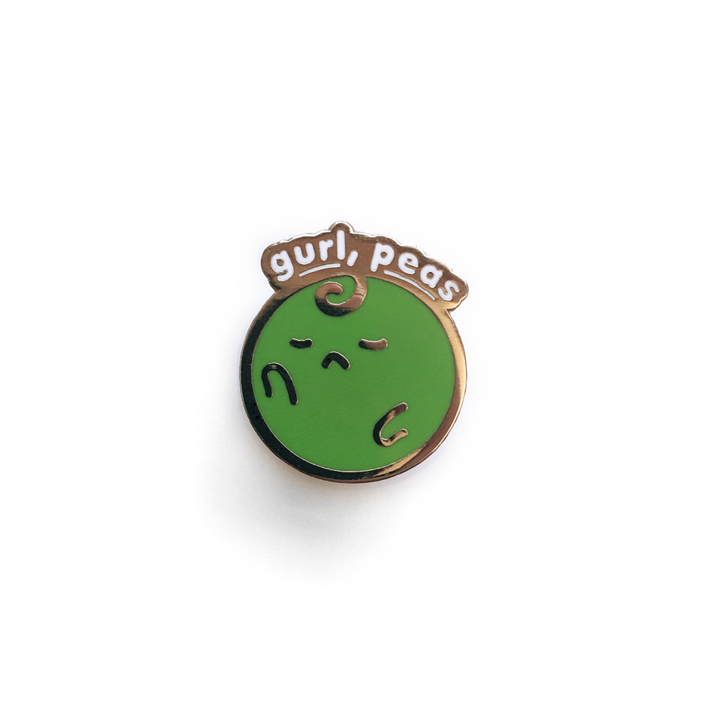Gurl Peas - Cute Food Puns - Pin - JAMKOO