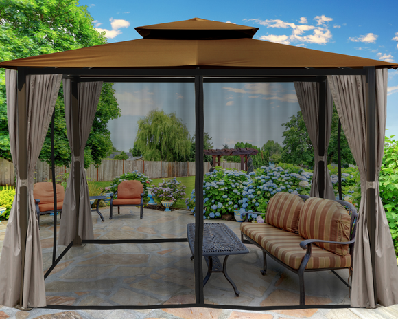 Barcelona 10'x12' Gazebo with Soft-Top and Privacy Curtains and Mosquito Netting, 5 colors