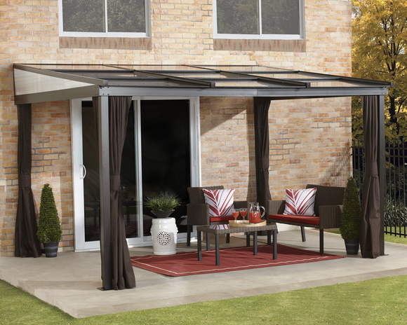 Budapest Wall-Mounted Gazebo 10 x 12 ft with Retractable Roof