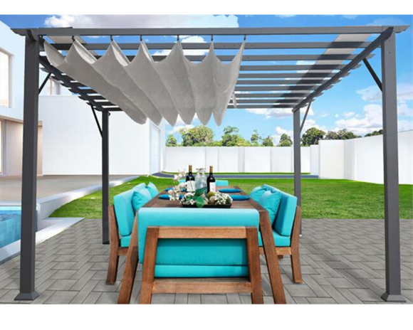 Florence 11x16 Grey Frame Aluminum Pergola w/ Convertible Canopy