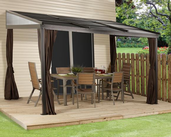 Francfort Wall-Mounted Gazebo 10 x 12 ft
