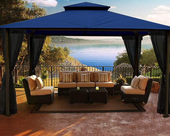 Kingsbury 11'x14' Gazebo with Sunbrella Top with Mosquito Netting