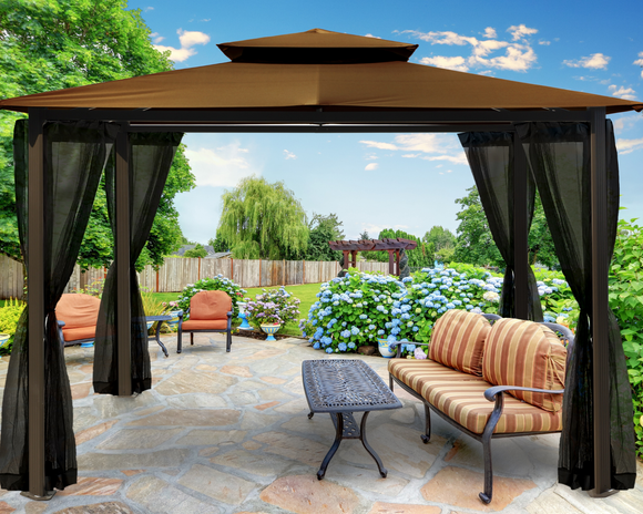 Barcelona Gazebo 10' x 12' with Soft-Top Roof and Mosquito Netting, 5 colors