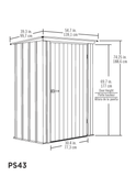 Spacemaker Patio Steel Storage Shed, 4x3, Flute Grey/Anthracite
