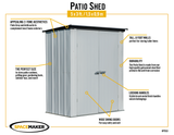 Spacemaker Patio Steel Storage Shed, 5x3, Flute Grey/Anthracite