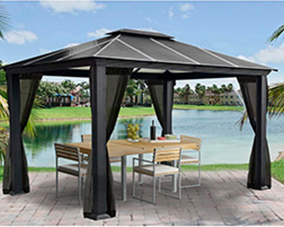 Santa Monica 11x13 Hard Top Gazebo with Mosquito Netting - GZ3K