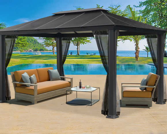 Santa Monica 11x16 Hard Top Gazebo With Mosquito Netting - GZ3XLK