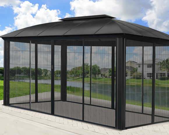 Siena 12x16 Hard Top Gazebo with Sliding Screen - GZ3DXLS
