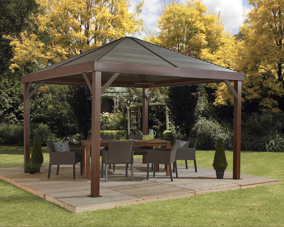 South Beach Gazebo Wood Grain Finish 12 x 12 ft