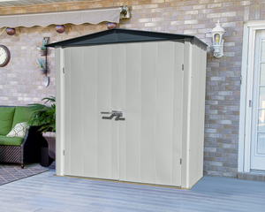 Spacemaker Patio Steel Storage Shed, 6x3, Flute Grey/Anthracite