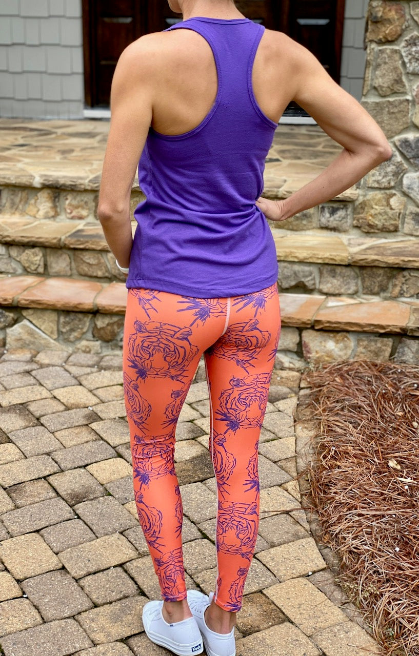 Purple & Orange Tiger Face Legging