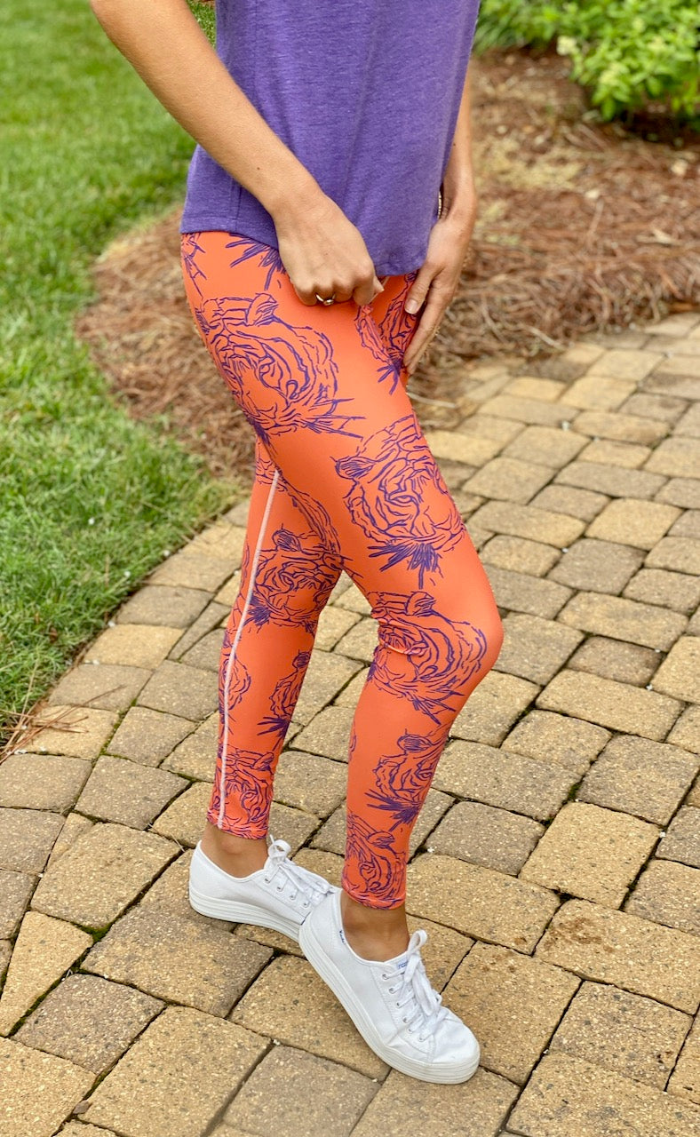Purple & Orange Tiger Legging