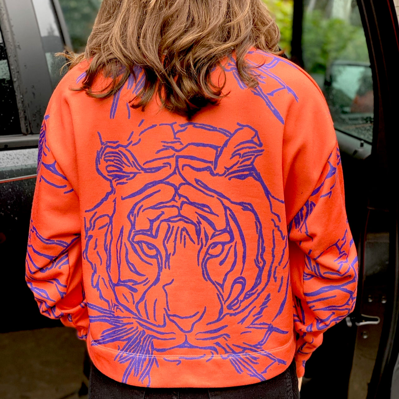Modern Purple & Orange Tiger Cropped Shirt