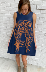 Game-Day Navy & Orange Tiger Dress