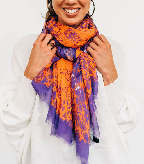 "Purple & Orange ""Lace"" Scarf/Sarong"