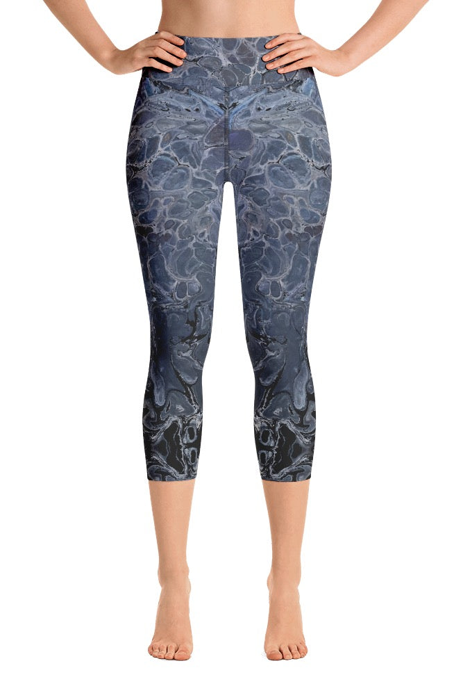 Steely Blue Capri Leggings