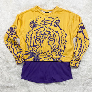 Modern Purple & Gold Tiger Cropped Shirt