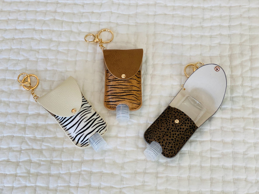 Animal Print Keychain/Hand Sanitizer Combo