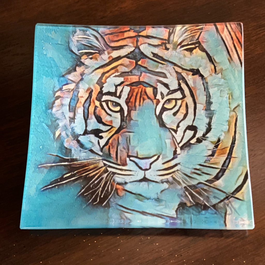 Teal Tiger Glass Tray (2 sizes)