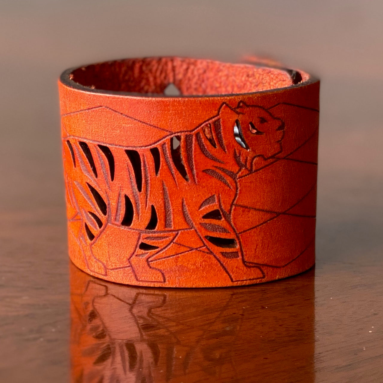 Prowling Tiger Leather Cuff