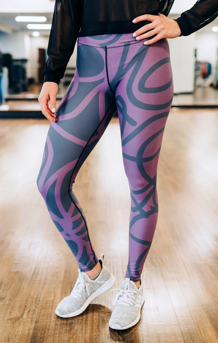 Cran-Gray Squiggles Full Length Leggings