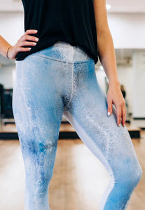 Denim Drops Capri Leggings