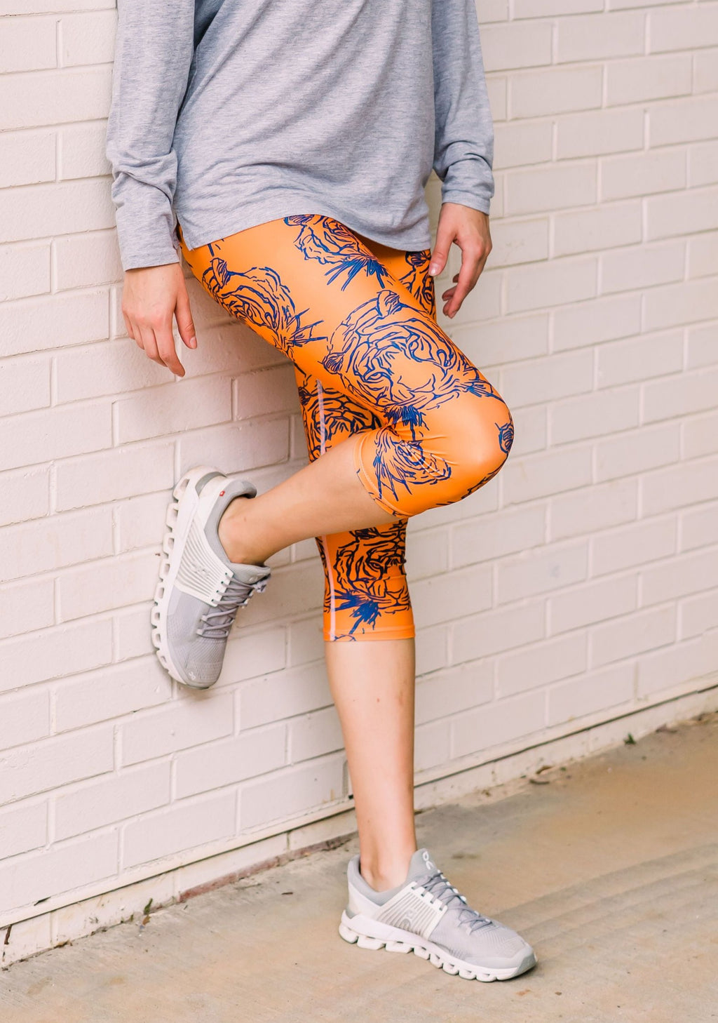 Orange & Navy Blue Tiger Leggings