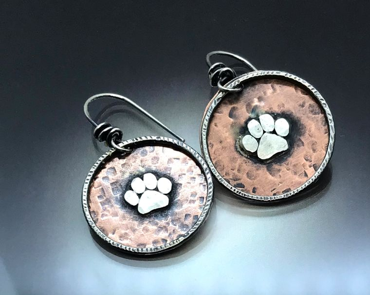 Copper and Sterling Paw Earring