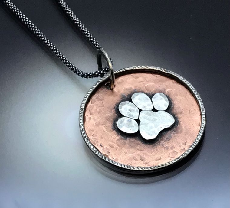 Large Copper & Sterling Tiger Paw Necklace