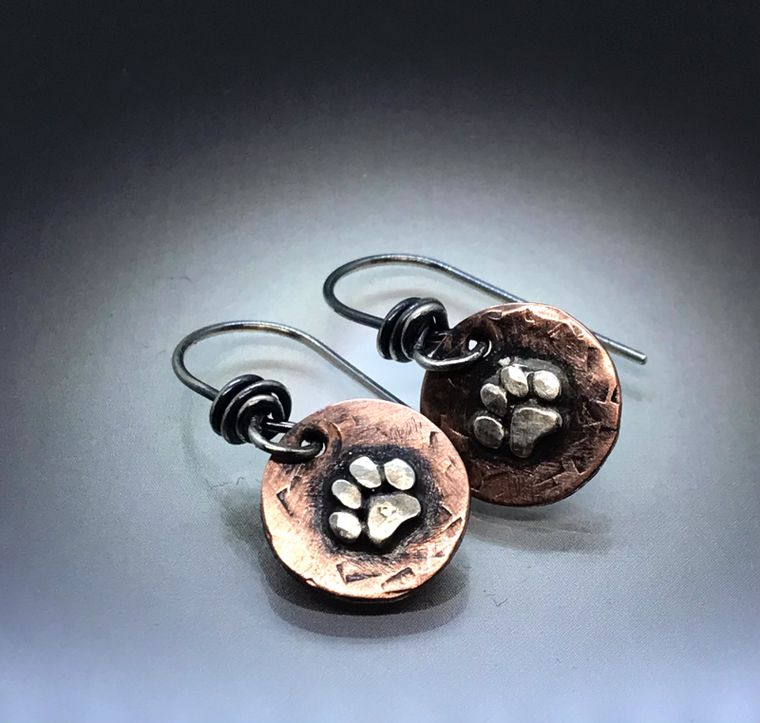 Sterling Paw on Copper Earring