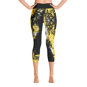 Yellow & Black Partytime Capri Leggings