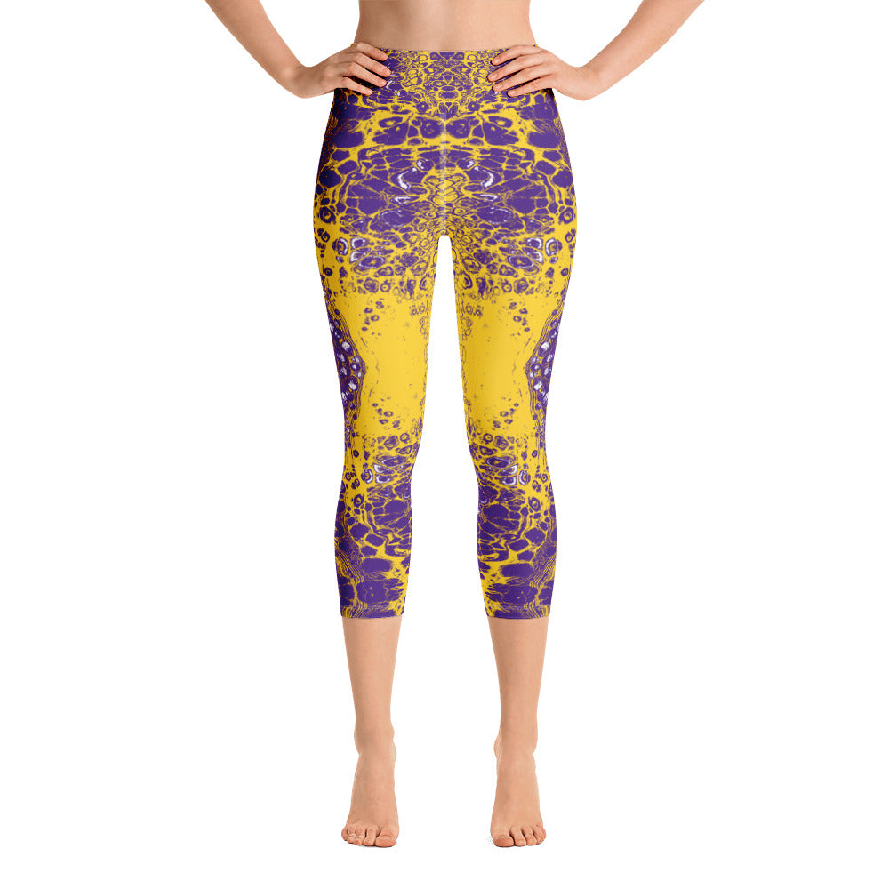 Purple & Yellow Lace Capri Leggings