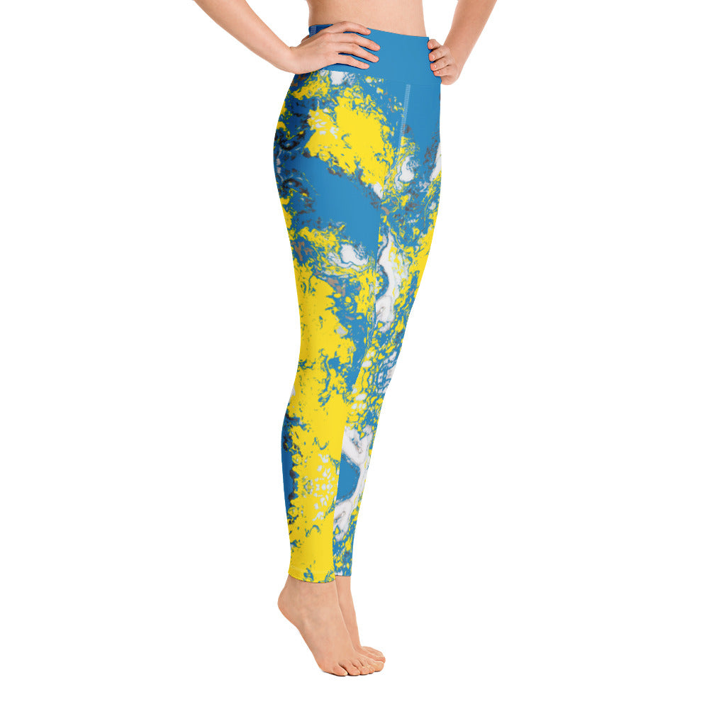 Blue & Yellow Partytime Full Length Leggings