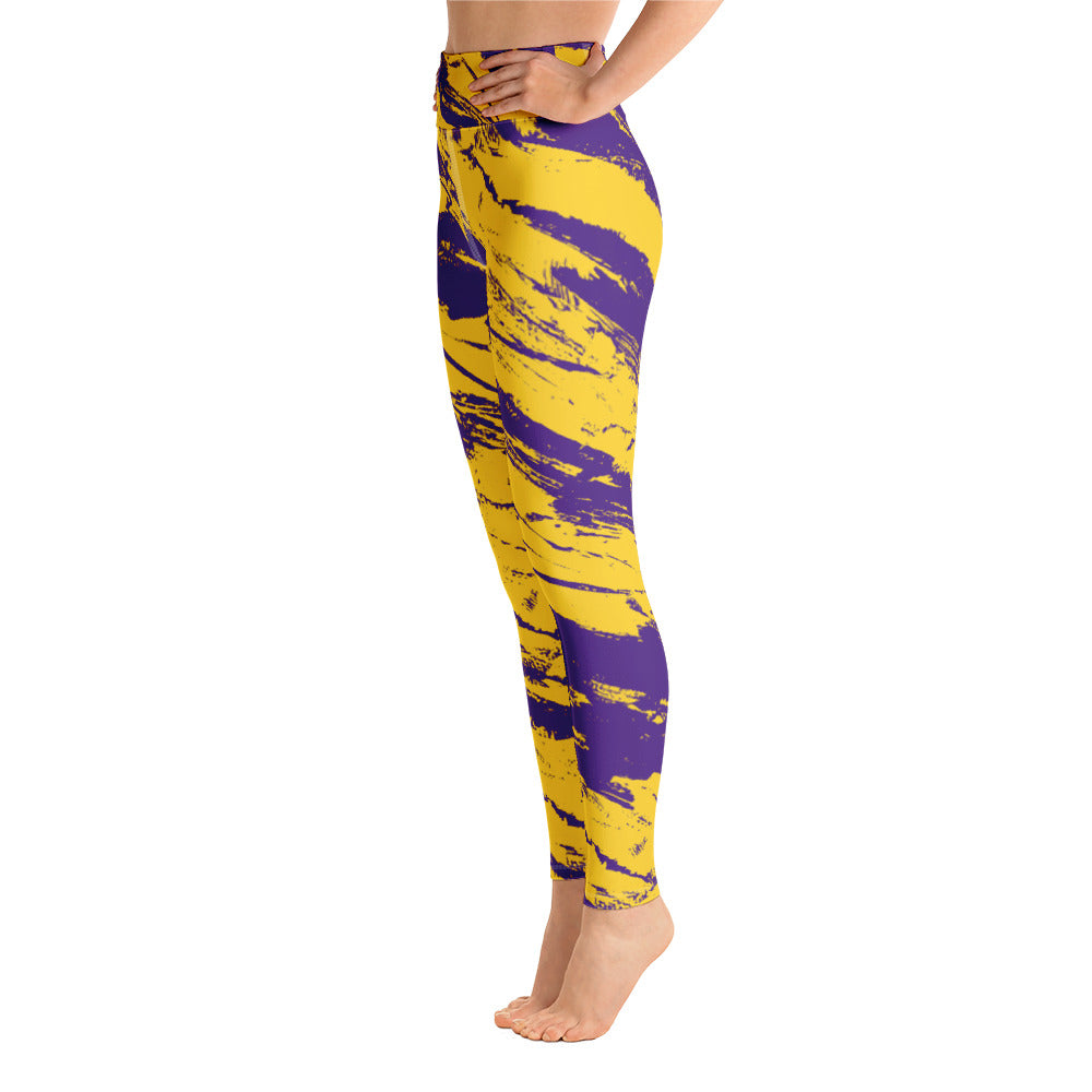 Purple & Yellow Stripes Full Length Leggings
