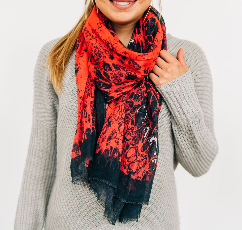 "Red & Black ""Lace"" Scarf/Sarong"