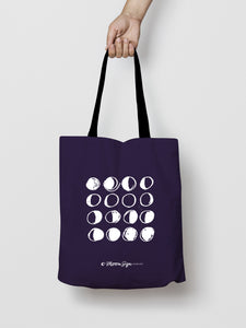 Moon Phases Deep Purple Tote