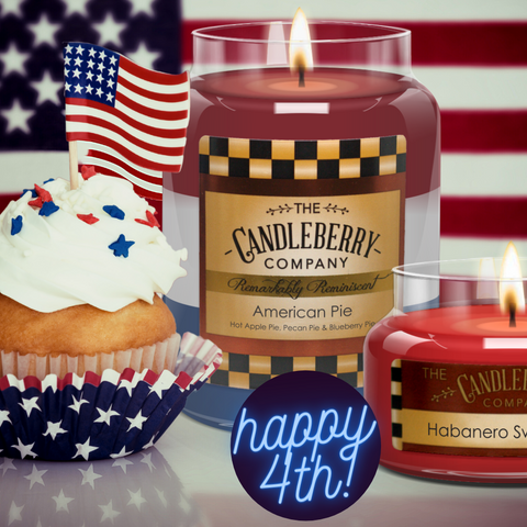 Red White and Blue American Pie 4th of July Independence Day Candleberry candle