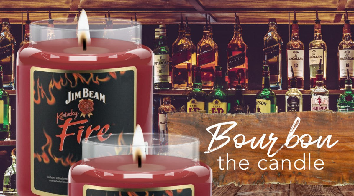 Bourbon Jim Beam 2020  2021 Top Buys Sale highly scented fire cinnamon christmas gift candle for men