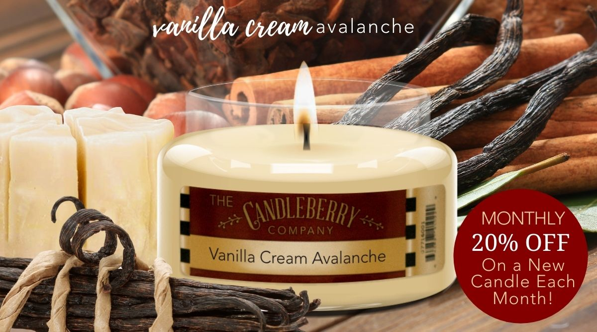 VANILLA CREAM AVALANCHE CANDLE OF THE MONTH SALE HIGHLY SCENTED CANDLES OCTOBER HALLOWEEN FALL CHRISTMAS GIFTS BUY NOW