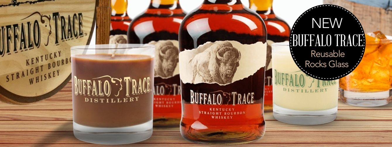 Buffalo Trace Reusable Rocks Glass Scented Bourbon Candle