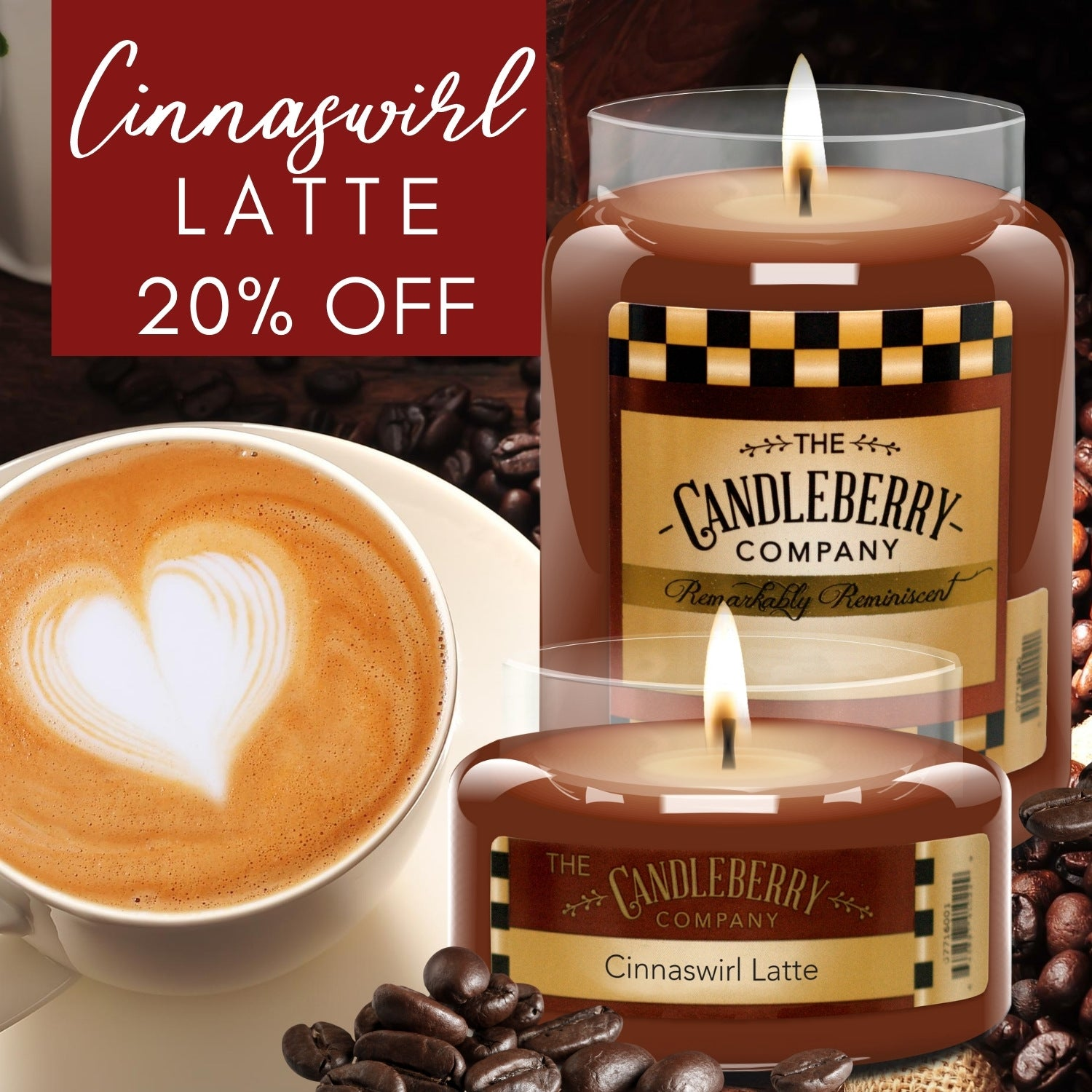 candleberry cinnamon coffee cafe cinnaswirl latte sale 20 percent off regular price we scent houses best seller fall 2020