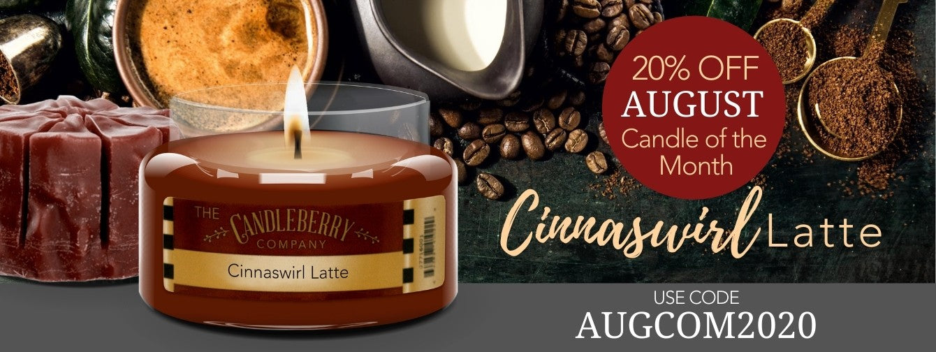 cinnaswirl latte cinnamon coffee scented candle on sale