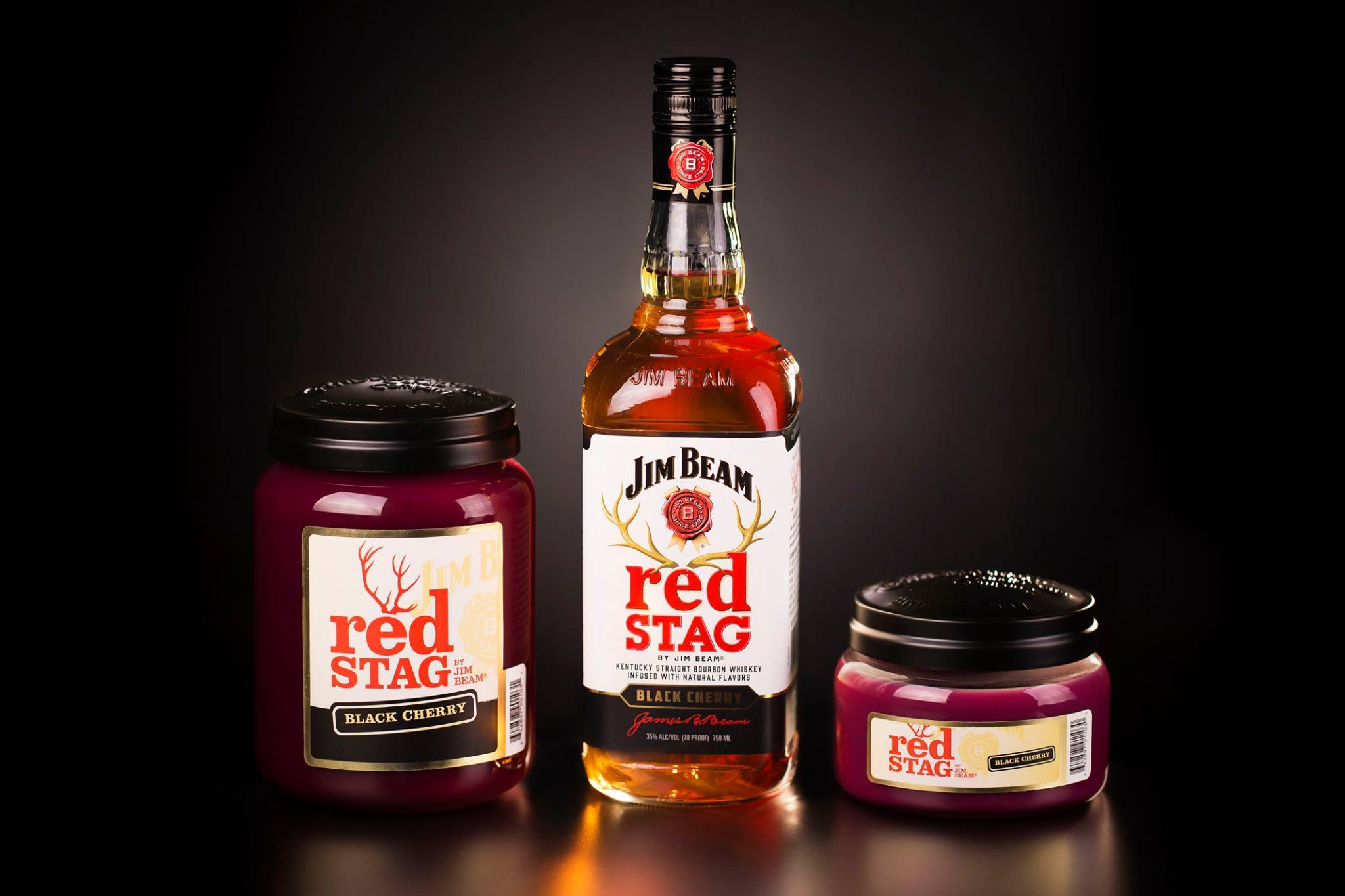 Red Stag®, Jim Beam Black Cherry®, 10 oz. Jar, Scented Candle Jim Beam, 10 oz. Small Jar Candle The Candleberry Candle Company