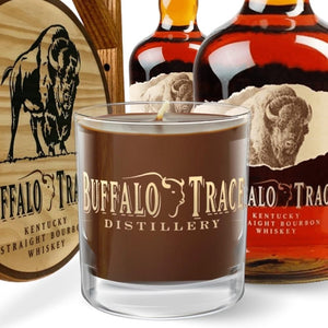 Buffalo Trace®, Branded Kentucky Bourbon™, 9 oz. Rocks Glass Candle Buffalo Trace, 9 oz. Branded Rocks Glass, Reusable Candle The Candleberry Candle Company